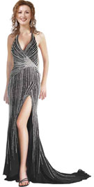 Cheap Wrap Styled Beaded Autumn Gown
