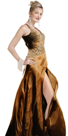 Exquisite Front Slit Autumn Gown