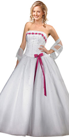 Ribbon Lace Bow Front Beaded Ball Gown