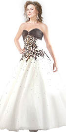 Beaded Shirred Bodice Ball Gown