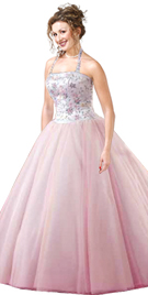 Gorgeous Halter Strap Beaded Ball Gown
