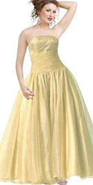 Strapless Satin Organza Ball Gown