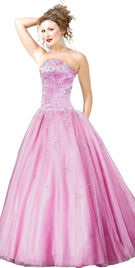 Satin Organza Embroidered Ball Gown
