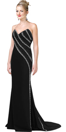 Strapless Beaded Gown With V neck and Sweep Train