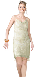 Cowl Knee Length Chiffon Embellished Beaded Dress
