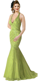 Silk Chiffon Beaded Dress in Mermaid Cut
