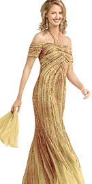Beaded Gold Halter Evening Gown