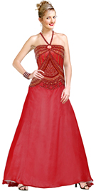 Halter Beaded Keyhole Detail Silk Chiffon Ball Gown
