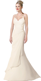Asymmetrically Draped Bridal Gown