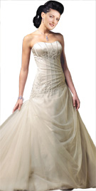 Alluring Netted Strapless Bridal Gown | Bridal Dresses