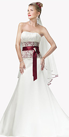 One-Piece, Strapless, Slim A-line Gown With Lace-up Over Inner Lace-up Closure.