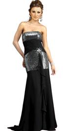 Buy Online Shiny Strapless Designer Gown