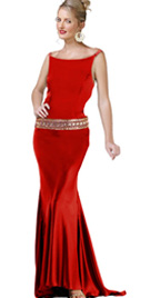 Boat Neckline Evening Gown