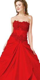 Embroidered Strapless Valentines Gown