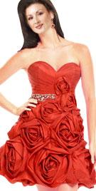 Striking Strapless Floral Patterned Dress