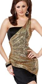 Shimmering One Sided Valentine Mini Dress