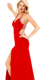 Valentine Gown With Thigh High Slit