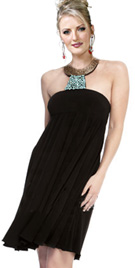 High Halter Collar Short Cocktail Dress