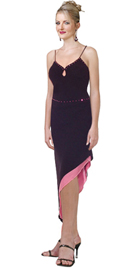 Dashing Cocktail Dress In Black Crepe Back Satin over pink satin Lining