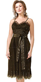 Dazzling Evening Dress With Bow Band