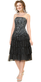 Strapless Multi Tiered Sequined Cocktail Dress