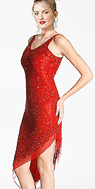 Beaded Sequined Red Evening Dress