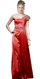 Red Beaded One Shoulder Christmas Gown