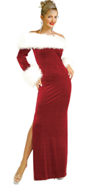 Velvet Red Gown With Fax Fur Trim