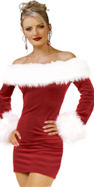 Short Mini Red Dress With Faux Fur Trim