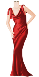 Designer Satin Cowl Neck Gown With Sleeve Hanging