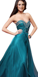 Fantastic Jewel Decked Strapless Evening Gown