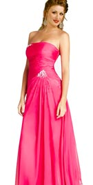 Strapless Evening Gown with a Broach