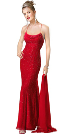 Red chiffon star evening dress