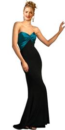 Twisted Satin Bodice Velvet Evening Gown