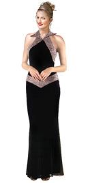 Collar Halter Beaded silky Chiffon Evening Dress