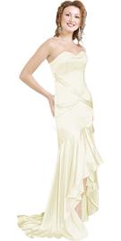 Buy white floor length Satin Evening dress
