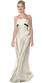 Strapless Satin evening Gown With Ruffled