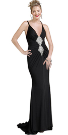 Black Evening Gown - Beaded Gown