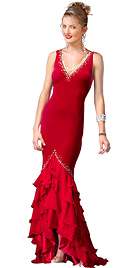 Red Jersey Dress, With V-neck In Mermaid Style And set the mood for the fall