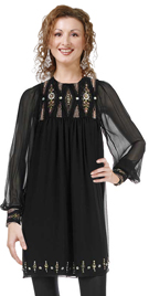 Silk Chiffon Beaded Full Sleeve Dress