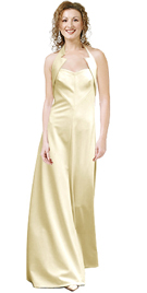 Collar Detail Ivory Satin Gown