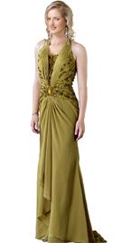 Silk Chiffon Beaded Halter Prom Gown