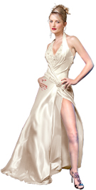 Satin Illusion Beaded Halter Evening Dress