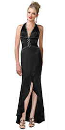 Halter Ruched Bodice Formal Dress