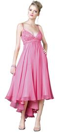 Empire Beaded Hi-Lo Hem Silk Chiffon Dress