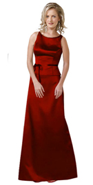 Attractive Audacious Red Two-piece Satin Gown