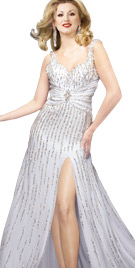 Vertical Sequin Lined Evening Gown