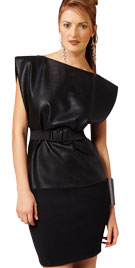 Dynamic And Unique Leather Combination Dress
