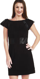 Bewitching Leather Combined One Piece Mini Dress
