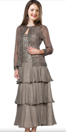 Charismatic Cascading Sequined Dress | Mother Of Bride Dresses